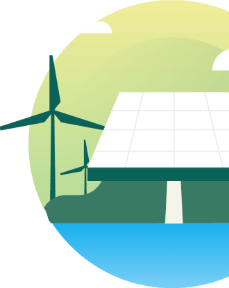 An illustration of a solar panel and windmill, which are two common carbon offset sources for Cloverly.