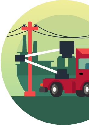 A utility truck fixing a power line, representing Cloverly's ability to help offset carbon emissions from the energy sector.