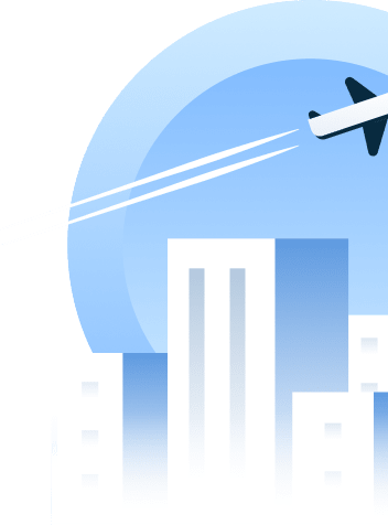 A plane flying over buildings showing Cloverly's ability to offset the carbon costs of aviation and flights.