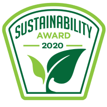 The logo of the 2020 Sustainability Awards, which Cloverly won for our carbon offset API.