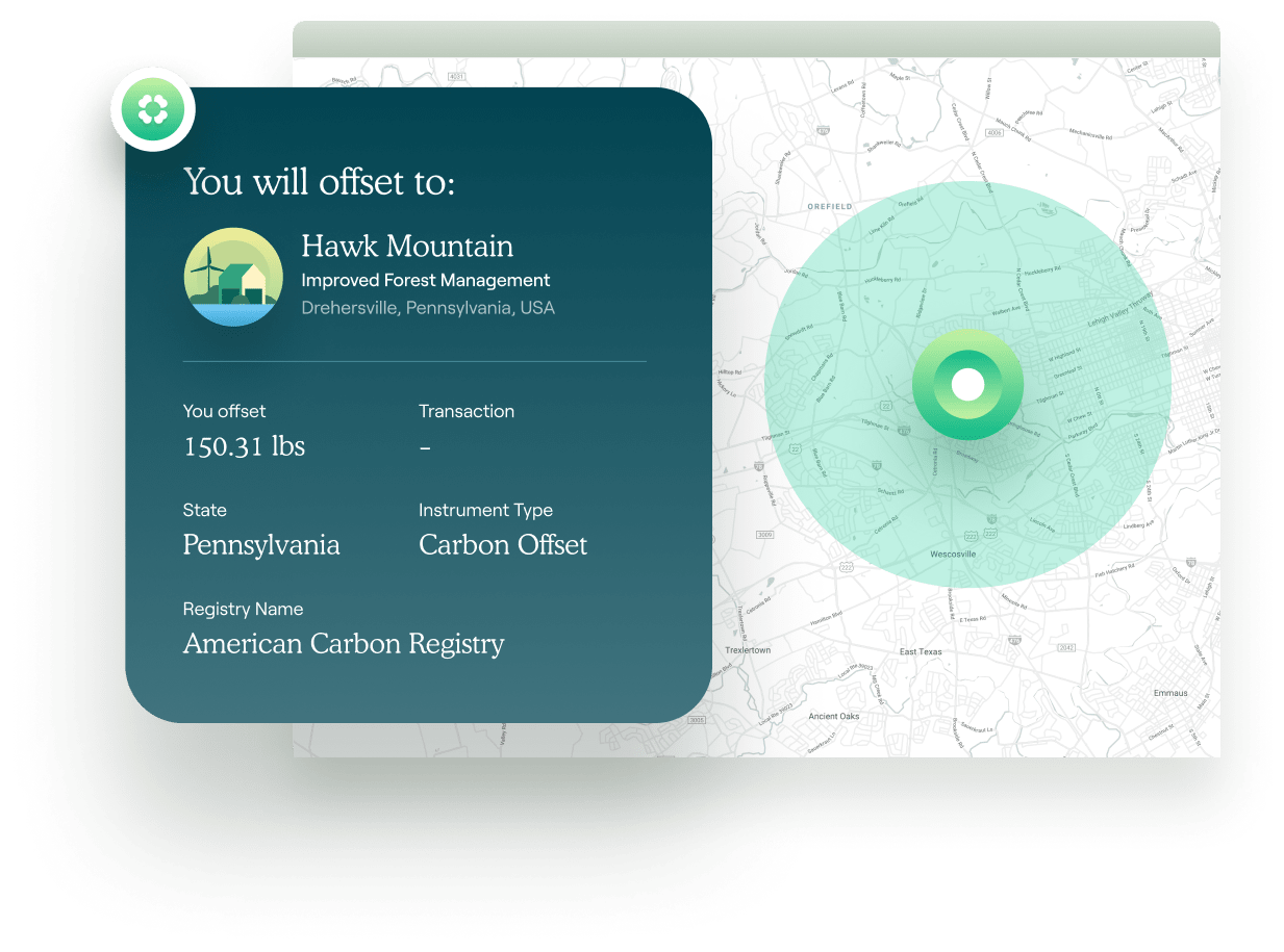 An example of a carbon offset matched to a specifically located carbon offset project.