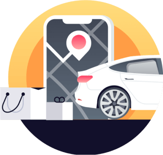 A car and pin on a map depicting Cloverly's platform integration with rideshare services to offset carbon emissions.